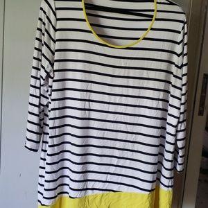Cute white W/ blue stripe and yellow trim